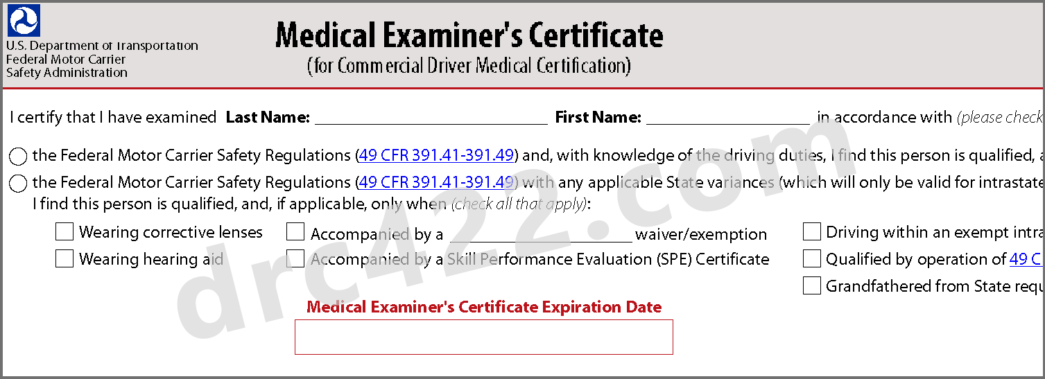 certificate dot medical cdl examiner sample certified exam examiners med complete physicals qualified granted lasts